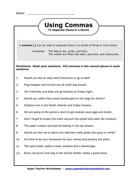 Commas Worksheet 5th Grade by Worksheets Using Commas Worksheet Opossumsoft Worksheets
