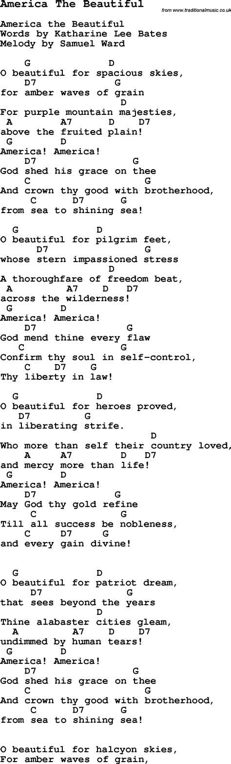 beautiful songs lyrics the 25 america the beautiful words www pixshark images