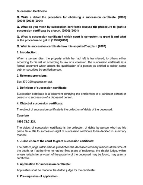 Succession Certificate Letter Administration Succession Certificate
