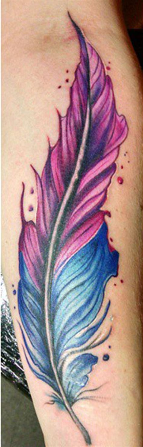 color feather tattoo freehand water color feather watercolor feather