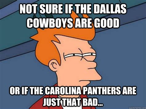 Funny Panthers Memes - not sure if the dallas cowboys are good or if the carolina