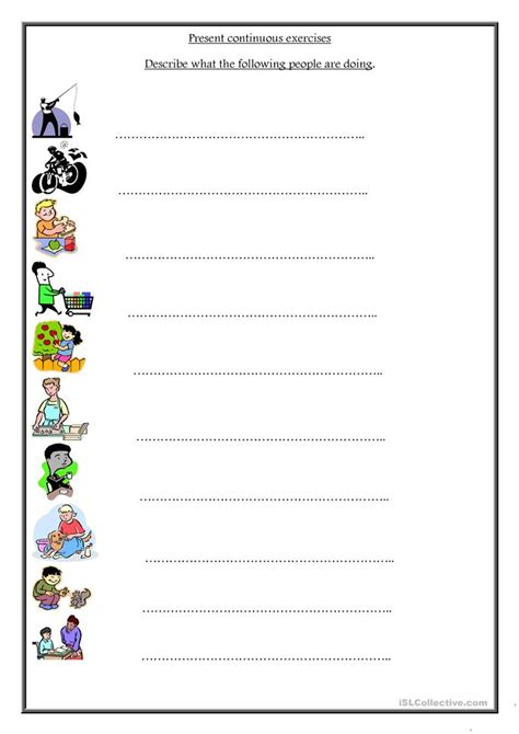 printable worksheets present continuous tense present continuous worksheet worksheet free esl