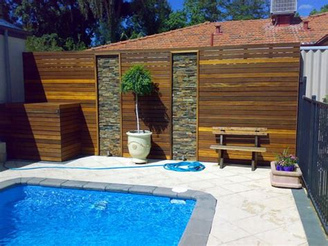 pool screen privacy curtains timber privacy screen around the pool jpg 600 215 450