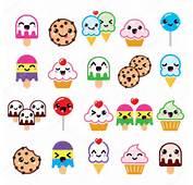 Simpatici Personaggi Kawaii Di Cibo  Cupcake Gelato