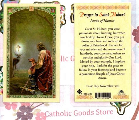 St Hubert Gift Card - saint hubert with prayer to st hubert laminated holy card ebay
