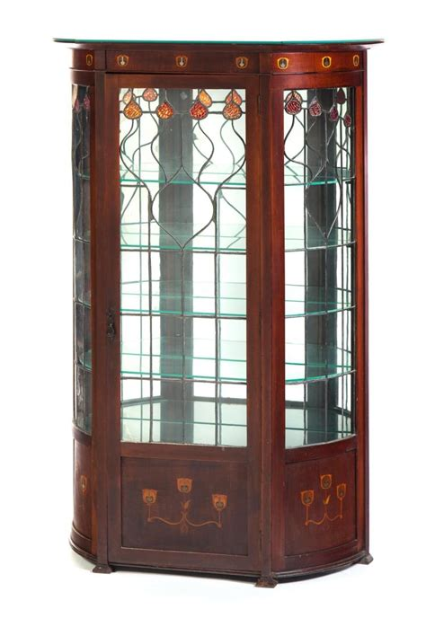 art nouveau china cabinet art nouveau curved glass china cabinet