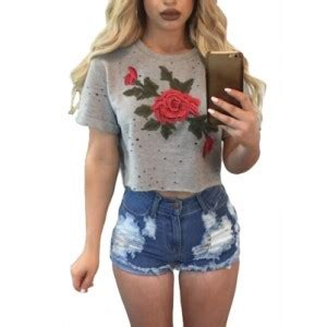 White Flower Embroidered Crop Top Size S M L 1 White Embroidered Flower Broken Crop Top Black Gray