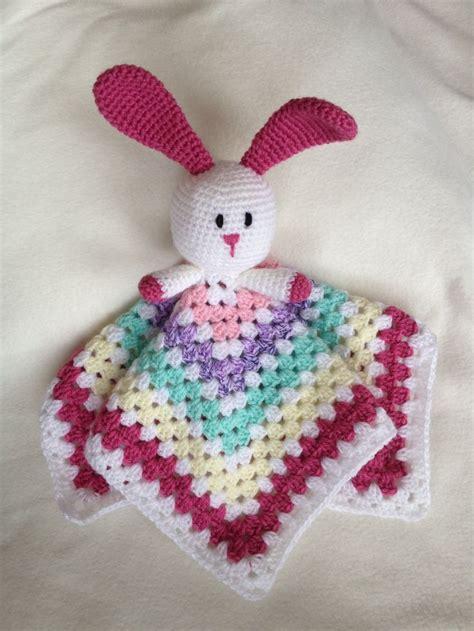 rabbit comforter blanket handmade rabbit crochet baby comforter security blanket