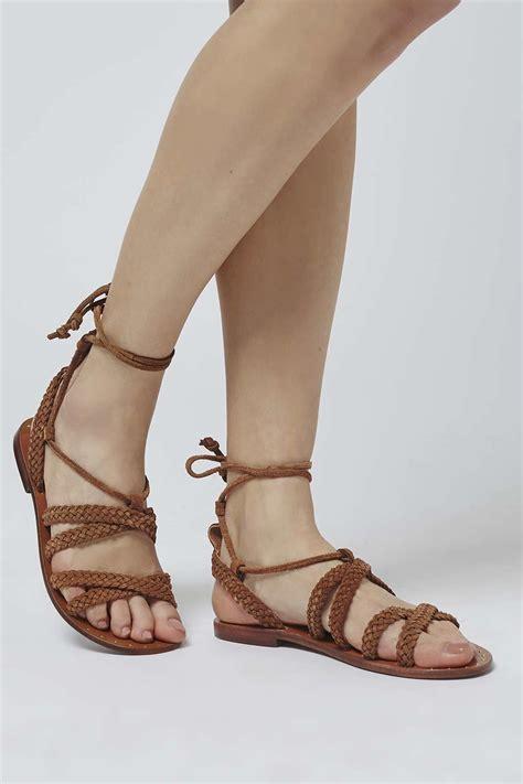 topshop gladiator sandals lyst topshop farewell gladiator sandals in brown