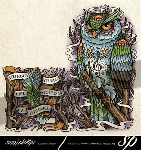 sam phillips tattoo designs another sugar owl from sam phillips ink yourself