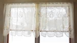Cottage Lace Curtains Pair Vintage Shabby Cottage Chic Ivory Lace Curtain Valances Ebay