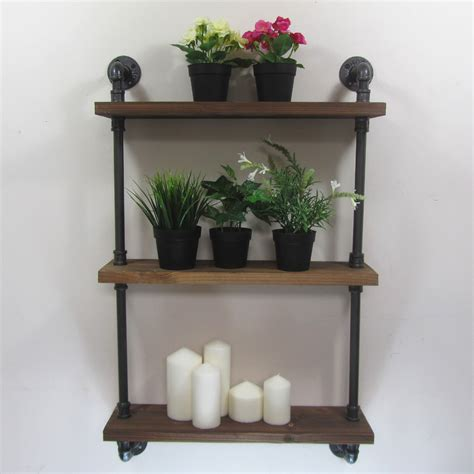 rustic wall shelves industrial rustic iron pipe wall mounted shelf 4