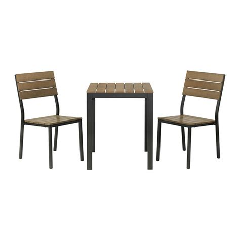 falster table 2 chairs outdoor black brown ikea