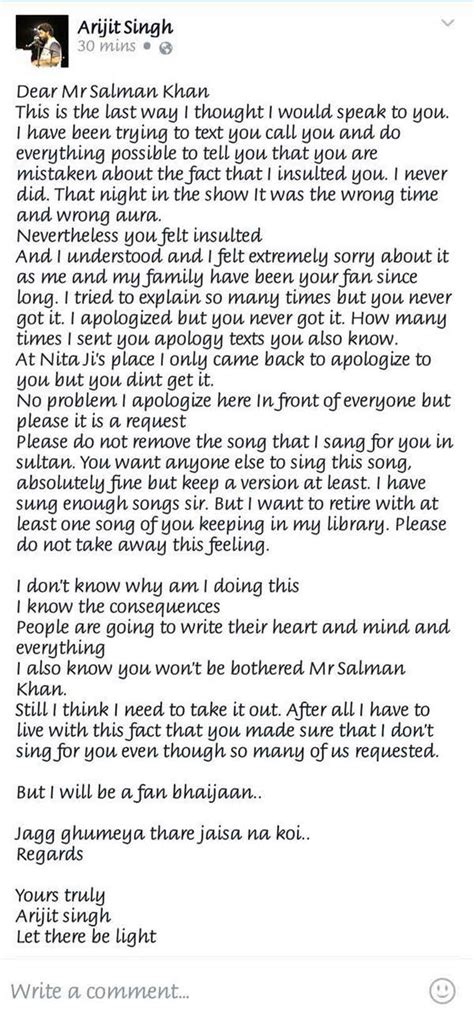 Apology Letter Marriage Arijit Singh Posts A Heartfelt Letter On Pleading Salman Khan To Retain His Song In