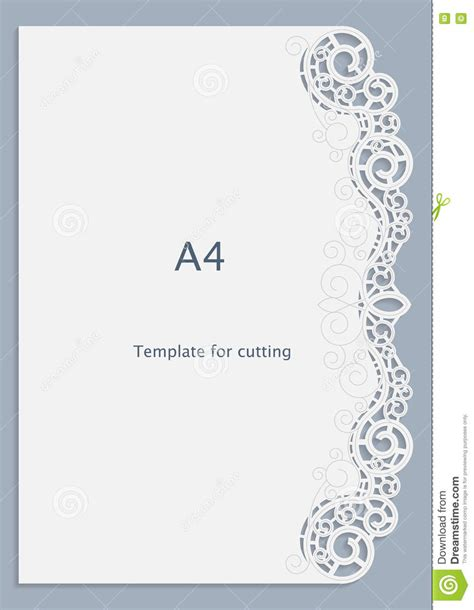 A4 Paper Lace Greeting Card White Pattern Cut Out Template Template Congratulation Card Cut Out Template