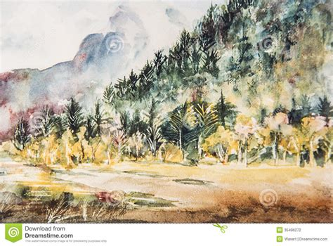 impressionist watercolor painting of mountain and trees