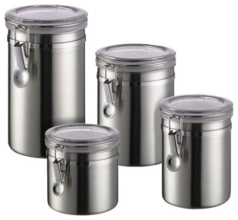 Kitchen Canisters Stainless Steel Brushed Stainless Steel Canisters Contemporary Kitchen