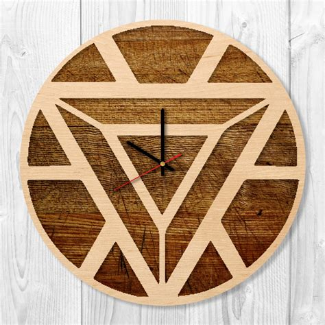 Handmade Clock - iron arc reactor handmade wood wall clock