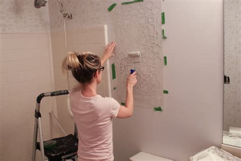 bathroom wall stencil ideas bathroom makeover stenciled walls plus a giveaway erin spain