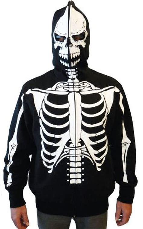 Hoodie Skeleton Zalfa Clothing zip up skeleton print hooded sweatshirt hoodie costume with mask