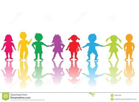 immagini clipart bambini gruppo di bambini colorati illustrazione di stock
