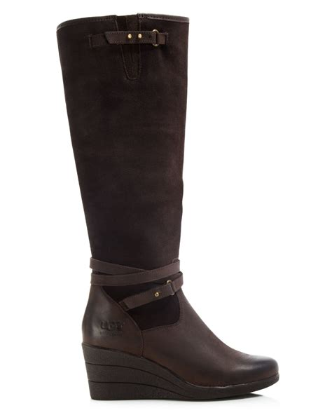 wedge boots ugg ugg 174 australia wedge boots lesley in brown lyst