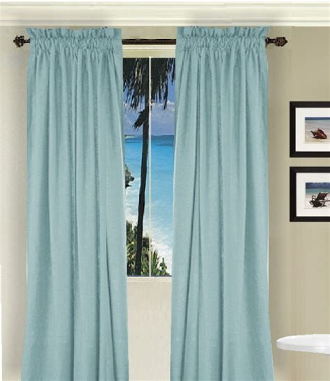 curtains longer than window solid light baby blue colored window long curtain