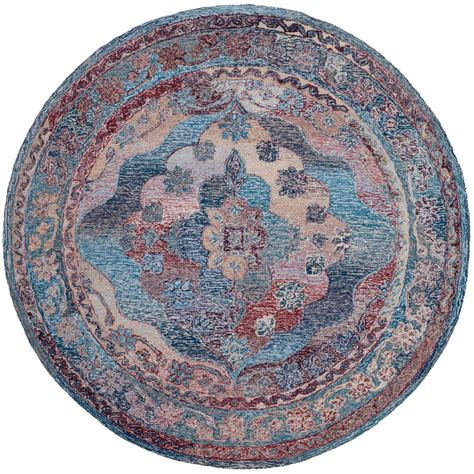 6ft Circular Rugs by Safavieh Vintage Oushak Blue 6 Ft X 6 Ft Area Rug