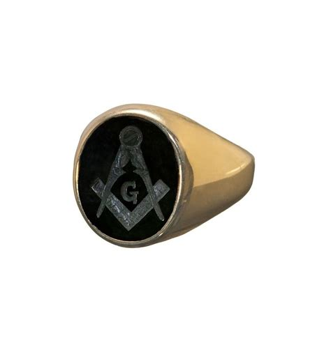 black onyx masonic engraved gold plated sterling silver