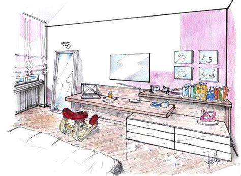 disegni di camere da letto zona studio in una parete multifunzione