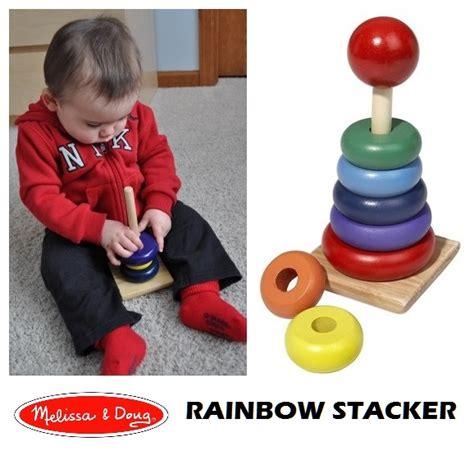Mainan Edukasi Anak Bayi Stacking Cup Doug Rainbow Stacker Mainan Kayu Susun Ring Warna