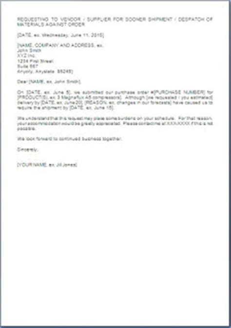 Request Letter For Delivery Early Delivery Request Letter Format