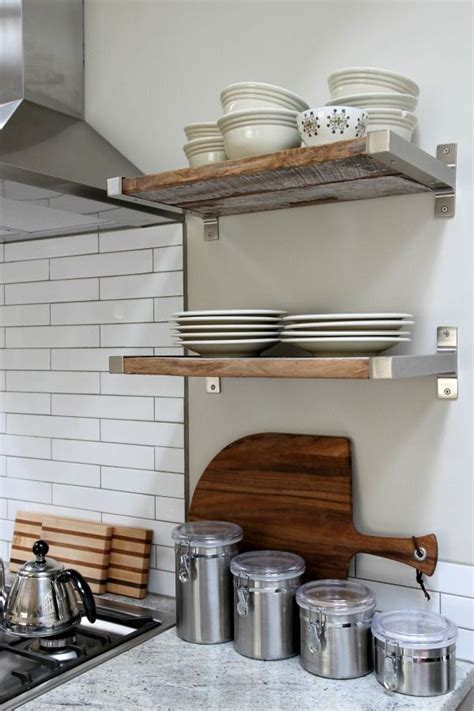 kitchen open shelving reclaimed wood fitted in ikea brackets kitchen