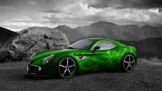 green car on black and white background wallpapers and