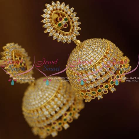 J8757 Broad Gold Plated AD Diamond Finish Floral Bollywood