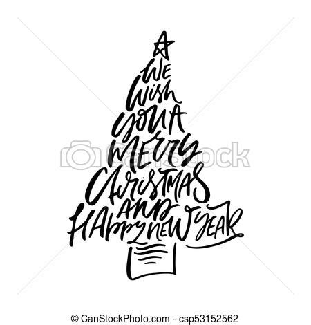 christmas tree lettering     merry christmas  happy  year calligraphy phrase