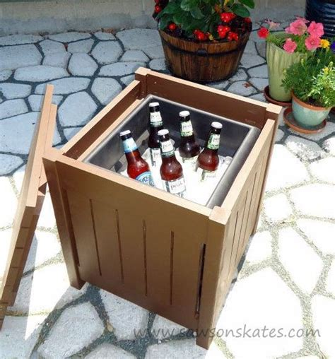 outdoor end table cooler remodelaholic brilliant diy cooler tables for the patio