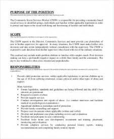 Social Workers Duties And Responsibilities sle social worker description 9 exles in pdf word