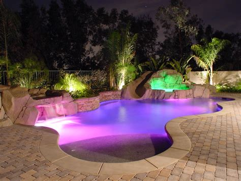 Backyard Pool Lighting Back Yard Landscape With Pit Plans House Design And