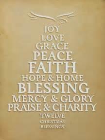 Home blessing mercy glory praise charity twelve christmas blessings