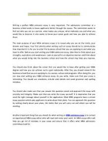 mba application essay sle excellent mba entrance essay