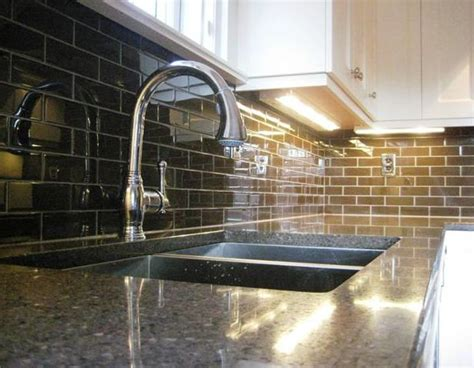 brown glass subway tile backsplash house