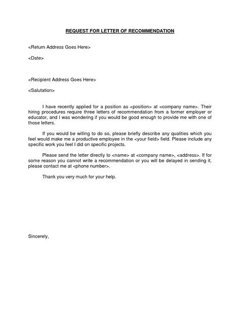 Sle Reference Letter For Previous Employee Exle Of A Recommendation Letter From An Employer Cover Letter Sle