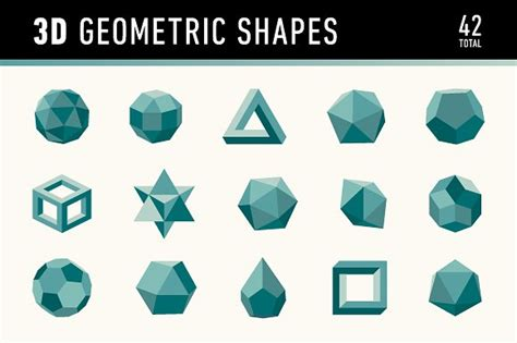 How To Make 3 Dimensional Shapes With Paper - 3d geometric shapes graphics creative market