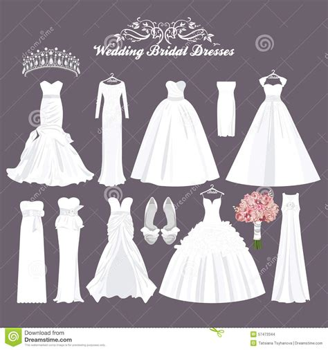 Wedding Hairstyles For Different Dress Types by Vector Wedding Dresses In Different Styles Fashion