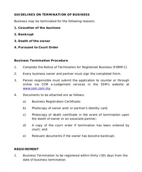 Business Termination Letter by 37 Sle Termination Letters