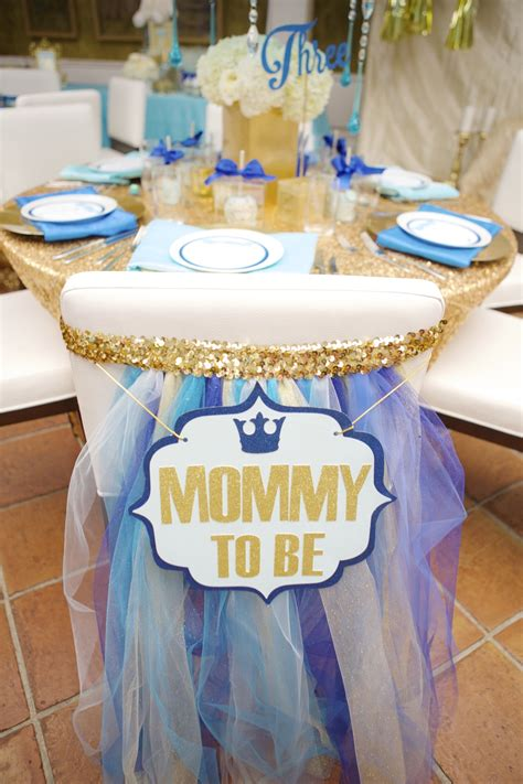 royal blue and gold baby shower chair to be sign for chair back at baby shower dining
