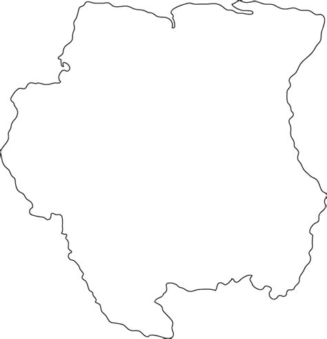Country Outline by Suriname Outline Map