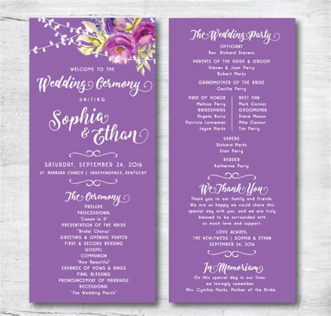 program card template wedding program template 41 free word pdf psd