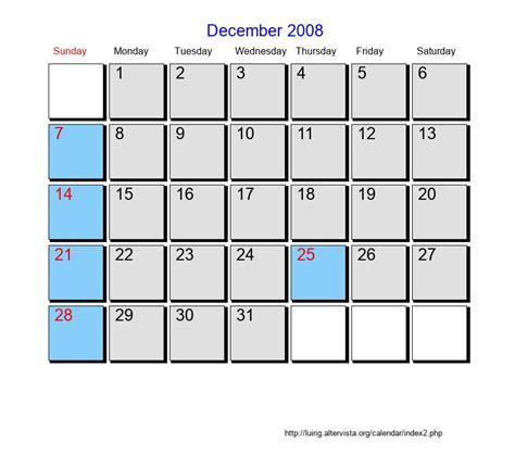 Calendar 2008 December Printable